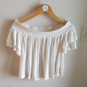 Free People White Gauze Off Shoulder Top